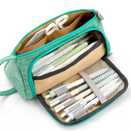 Back to School Supplies Sale Pencil Case, Boys Girls Big Capacity Colored Canvas Storage Pouch Marker Pen Pencil Case Stationery Bag Holder Gift, Mint Green - Walmart.com - Walmart.com