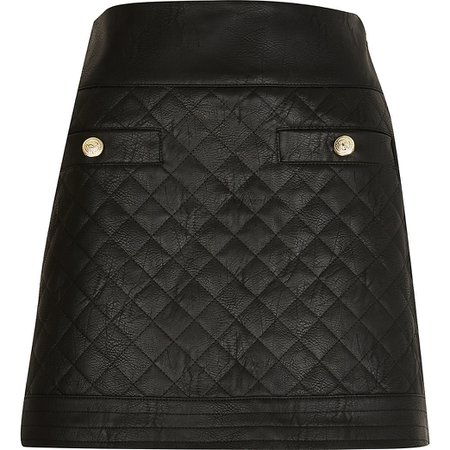 Black quilted Faux Leather mini skirt | River Island