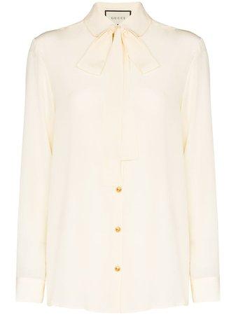 Gucci Pussybow Collar Button-Down Shirt 592367ZAAOG Neutral | Farfetch
