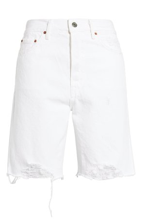 GRLFRND Marjan Distressed High Waist Denim Bermuda Shorts (Get U the Moon) | Nordstrom
