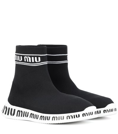 Sock Black Boots Sneakers