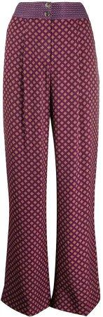 Wide Leg Geometric Print Trousers