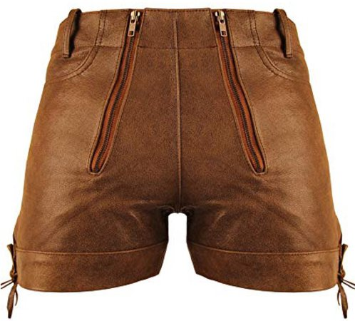 Tan Leather Shorts