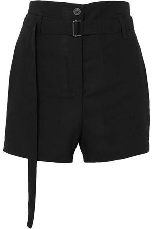 Belted Wool Shorts - Black