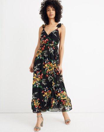 Ruffle-Strap Wrap Dress in Orchid Bouquet