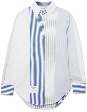 Striped Cotton-poplin Shirt - Blue