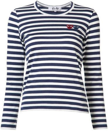striped heart logo T-shirt