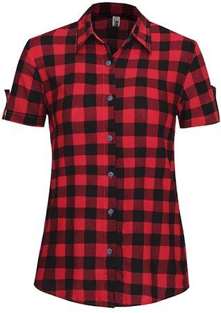 OCHENTA Women's Short Sleeve Blouses Plaid Button Down Shirt Casual Summer Wear Blue Black XS at Amazon Women's Clothing store