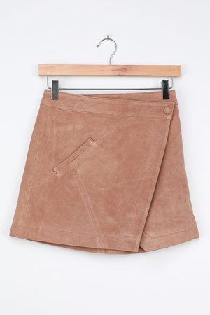 Blank NYC Act Natural - Tan Leather Mini Skirt - Wrap Mini Skirt