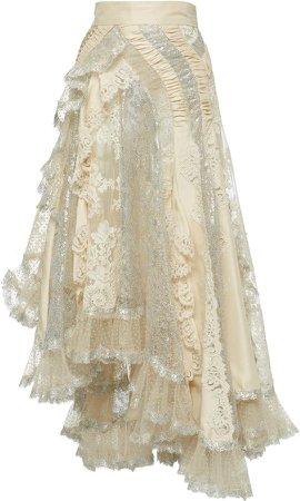 Sabotage Flocked Asymmetric Lace-Chiffon Skirt