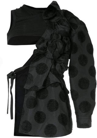 Pre-Owned flocked dots deconstructed coat