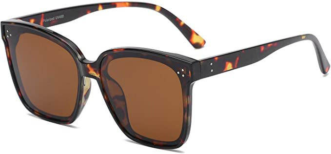 Amazon.com: DUSHINE Oversized Square Polarized Sunglasses For Women With Rivets Retro Vintage UV Protection: Clothing