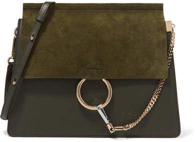 Faye Medium Leather And Suede Shoulder Bag - Dark green