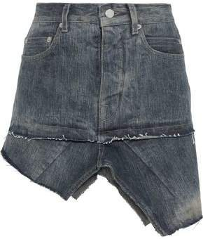 Asymmetric Distressed Denim Mini Skirt