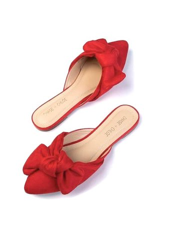 pointed red bow pumps