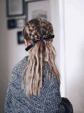 Braided Ponytail with Ribbon