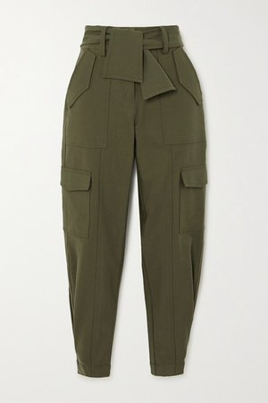 Elian Cropped Belted Cotton-blend Twill Tapered Pants - Army green