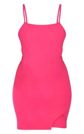 Orange Snake Print Strappy Split Hem Bodycon mini Dress   PrettyLittleThing USA