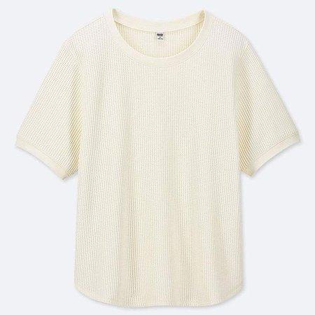Women's Waffle Crew Neck Short-sleeve T-Shirt