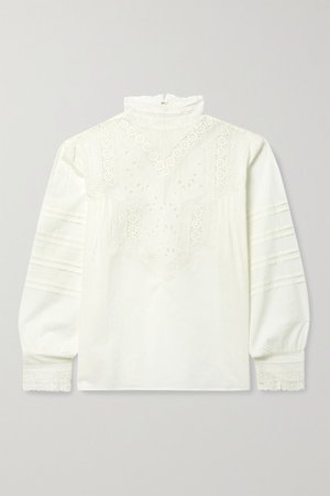 Evie Broderie Anglaise Cotton-voile Blouse - Ivory