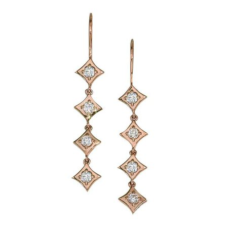 Regalo Diamond Dangle Earrings in 14k Rose Gold by GiGi Ferranti
