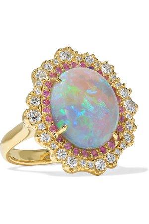 Kimberly McDonald | 18-karat green gold multi-stone ring | NET-A-PORTER.COM