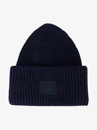 Acne Studios Navy Blue Pansy Ribbed Beanie | Hats | Browns