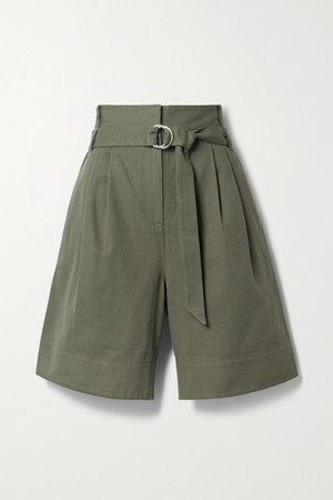 Jenson Belted Pleated Cotton-twill Shorts - Army green