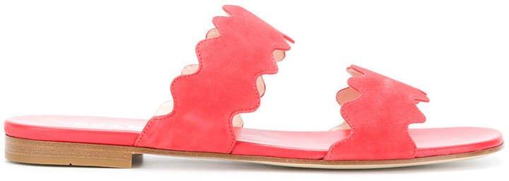 scalloped open toe sandals
