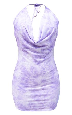 Lilac Tie Dye Bodycon Dress | PrettyLittleThing