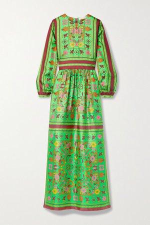 Printed Silk-twill Maxi Dress - Green