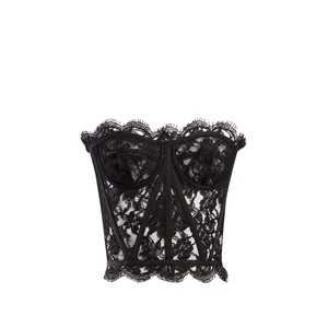 DOLCE & GABBANA Scallop-edged lace bustier top