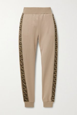 Mushroom Jacquard-trimmed satin-jersey track pants | Fendi | NET-A-PORTER