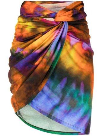 The Attico tie-dye Ruched Mini Skirt - Farfetch