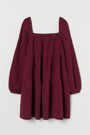 Flared Cotton Dress - Red