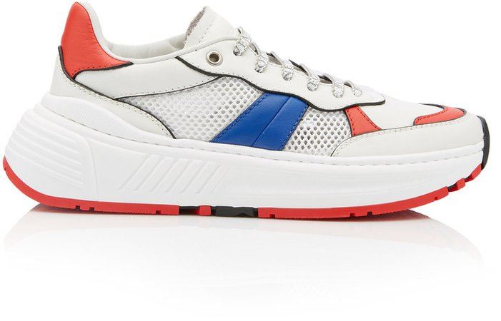 Speedster Color-Blocked Leather And Mesh Low-Top Sneake
