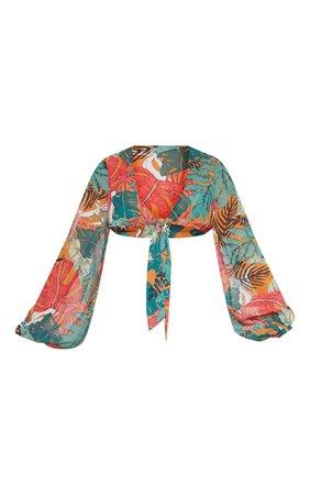 Orange Big Leaf Tie Front Beach Top | PrettyLittleThing USA
