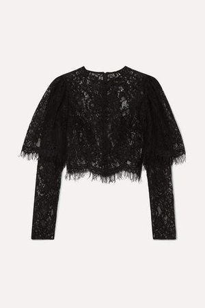 Cropped Lace Top - Black