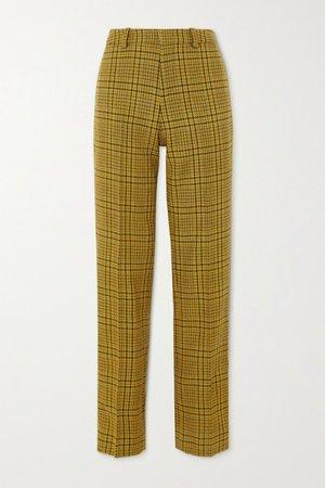 Rubi Prince Of Wales Checked Wool Straight-leg Pants - Mustard