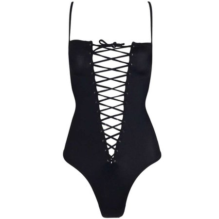 Dolce & Gabbana Black Corset Tie Up Plunging Bodysuit Swimsuit, Circa 2003