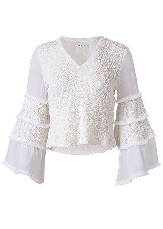Smocked Bell Sleeve Top in Off White | VENUS