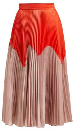 Ollyn Bi Colour Pleated Satin Skirt - Womens - Orange Multi