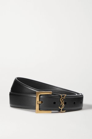 Black Embellished leather belt | SAINT LAURENT | NET-A-PORTER