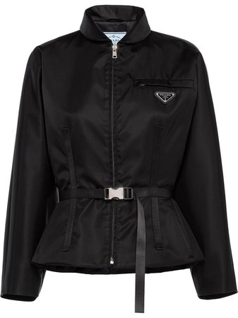 Black Prada logo-plaque belted jacket 270098S2021WQ8 - Farfetch