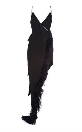 David Koma Crystal And Feather-Trimmed Asymmetrical Dress