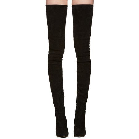 Balmain Black Suede Catherine Over-the-Knee Boots (