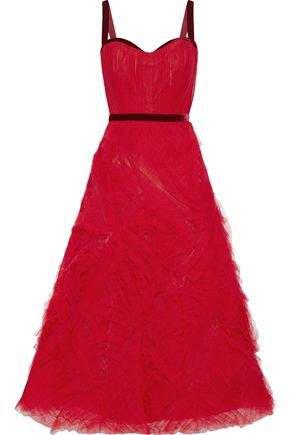 Velvet-trimmed Pleated Tulle Gown