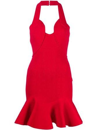 Red Alexander McQueen halterneck ribbed-knit mini dress - Farfetch