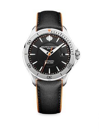 Baume & Mercier Clifton Club Stainless Steel & Leather Strap Watch   SaksFifthAvenue