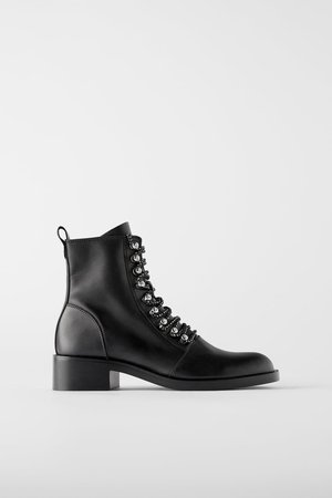 LOW HEELED LEATHER MOTO ANKLE BOOTS WITH STUDS - BEST SELLERS-WOMAN   ZARA United States black